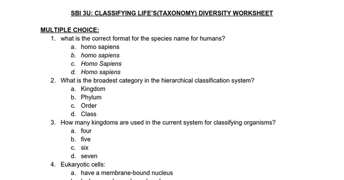 Div03b - Taxonomy Student Worksheet - Google Docs