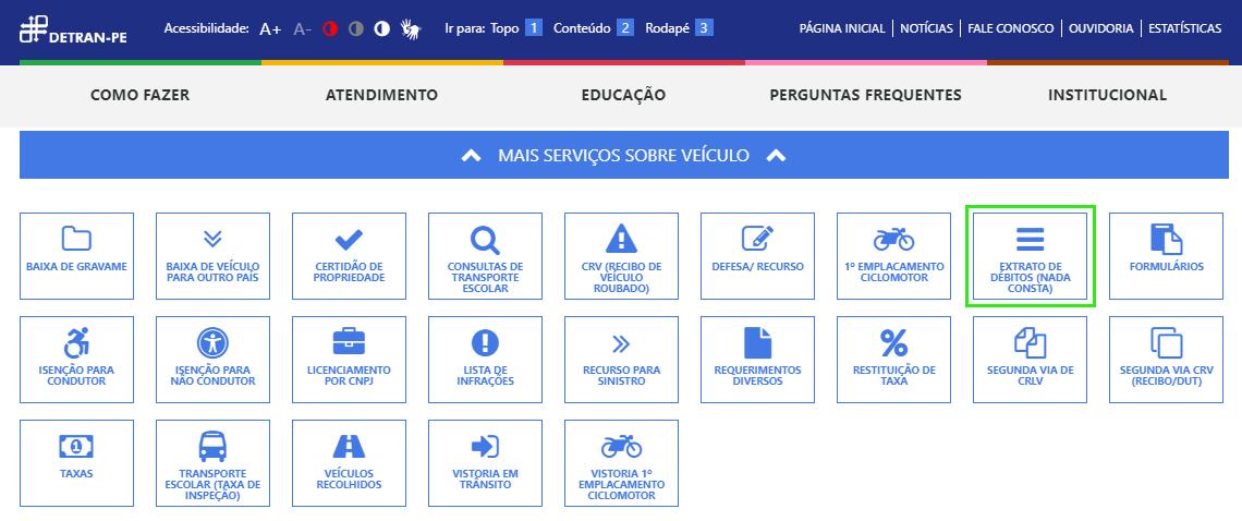 """Escolha a opção """"Extrato de débitos (nada consta) no site do Detran PE"""