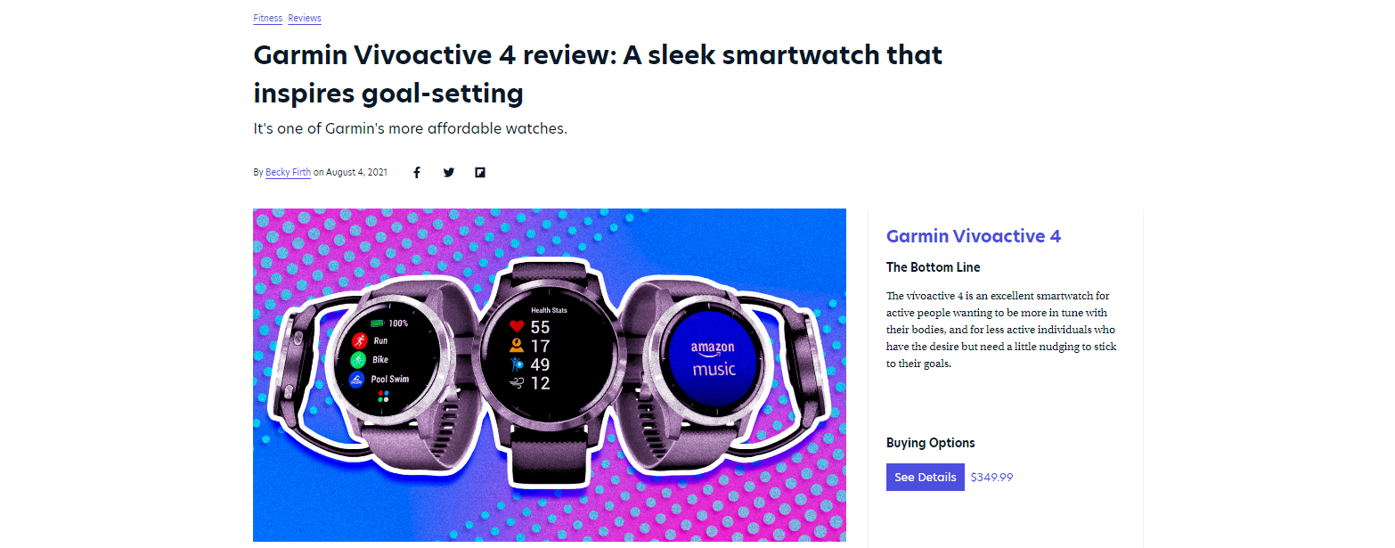 example from Mashable and Garmin