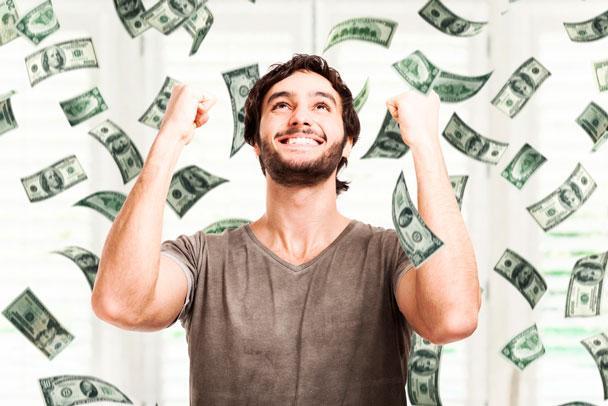 Resultado de imagem para pessoa feliz ganhou dinheiro