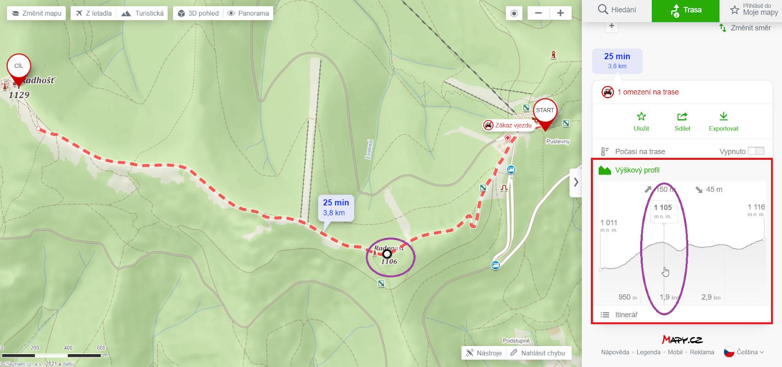 Výškový profil cesty na mapy.cz