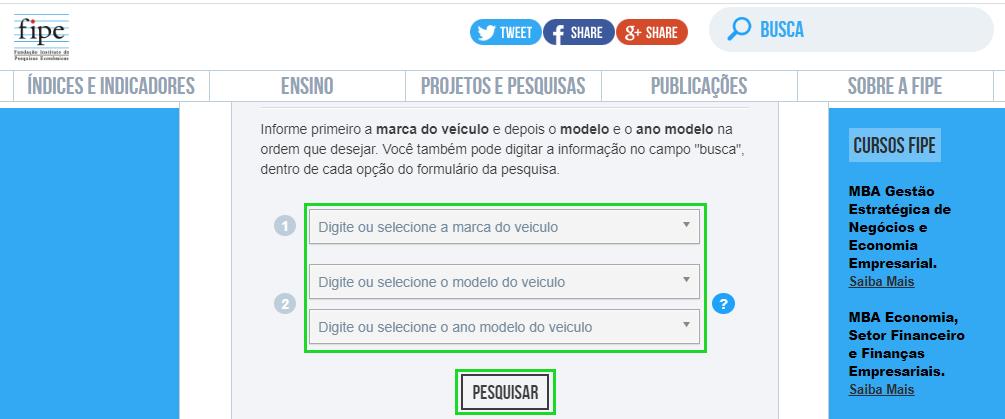 Selecione as características do veículo que você pretende consultar na Tabela FIPE