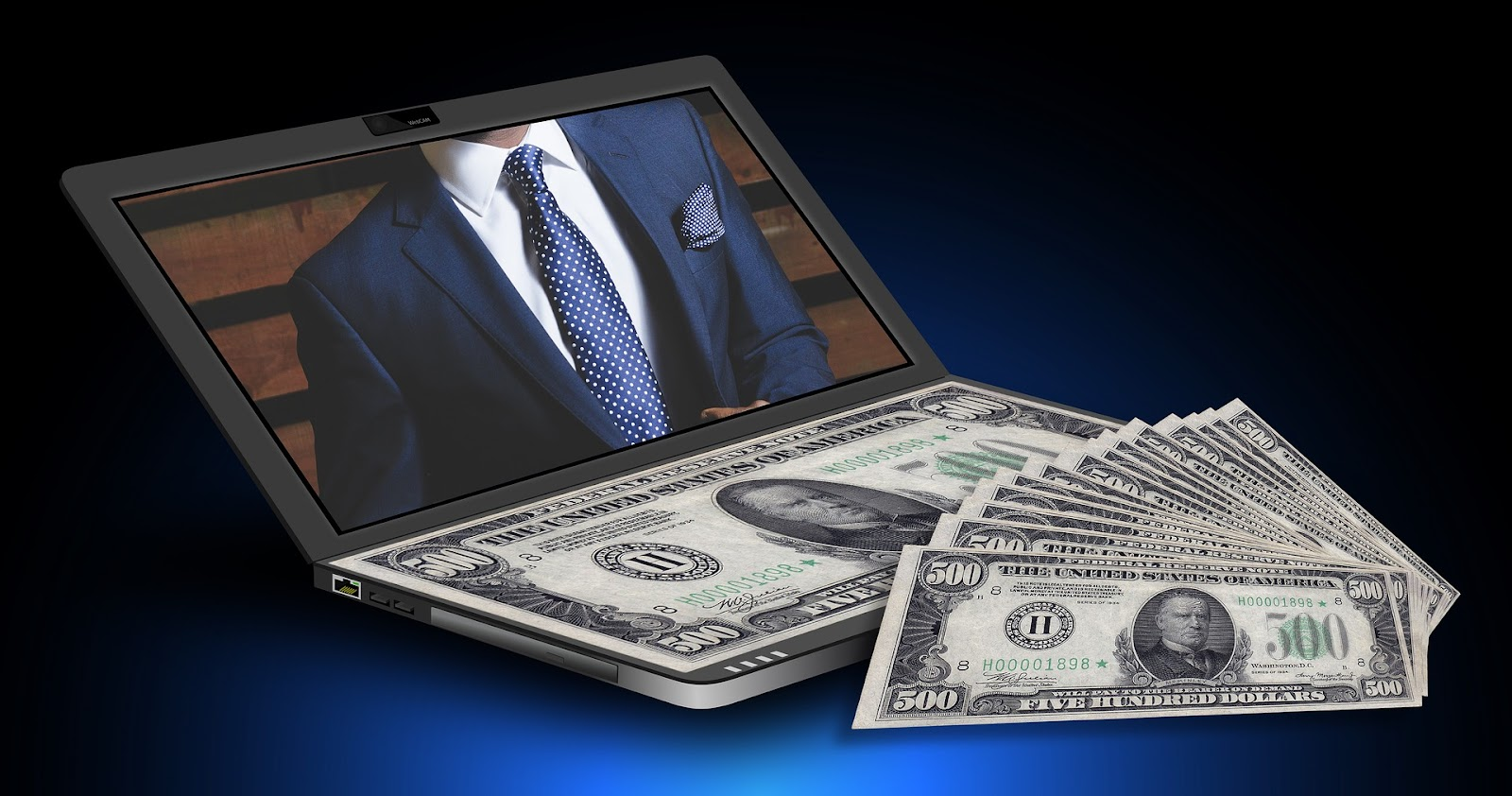 A Laptop with a picture of a lawyer on the screen, and a separate pile of money