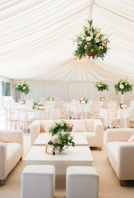 Beautiful Wedding Tent Ideas: Peach Tent and Cozy Couches