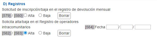 Registro operador intracomunitario ROI en el modelo 036