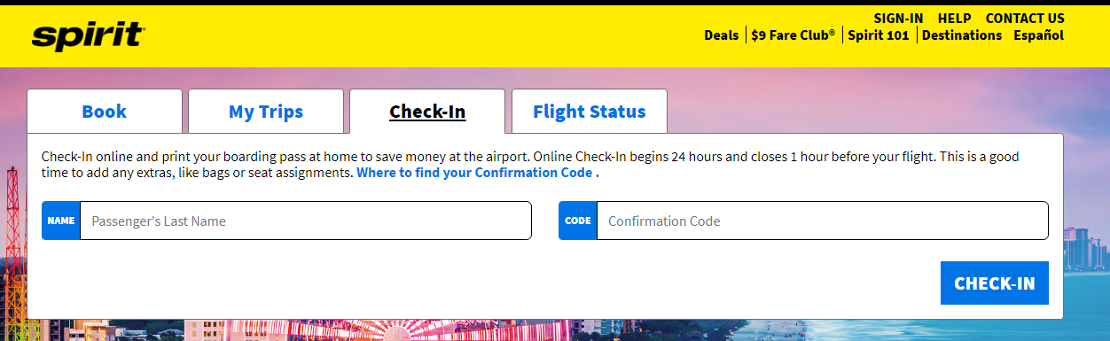 Spirit Airlines Online Check In Steps