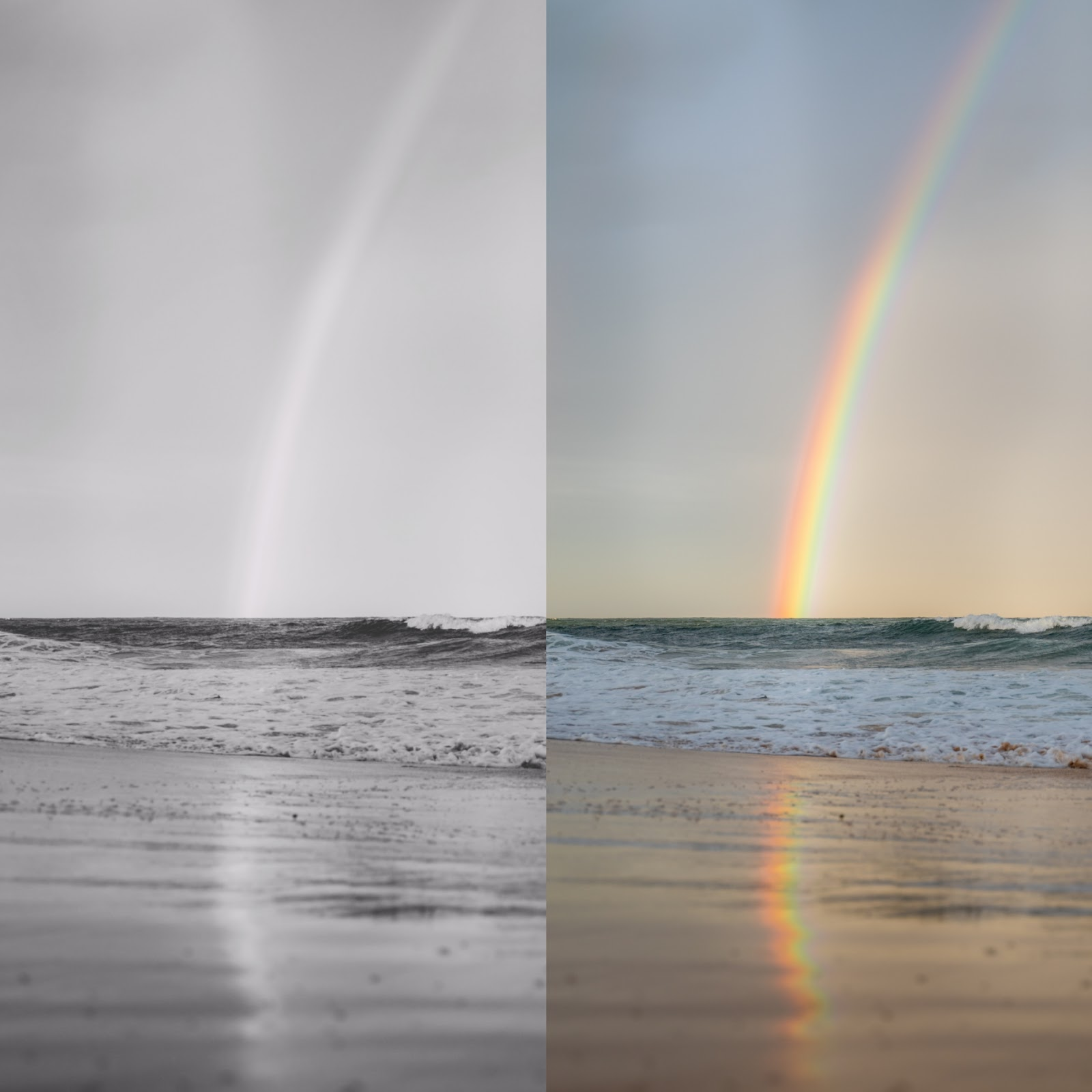 colored and black and white sea with rainbow