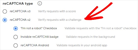 Select your reCaptcha type before installing it in WPForms