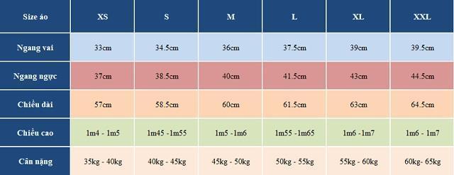 Chọn size áo thun nữ theo chiều cao cân nặng