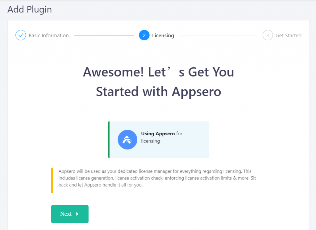 Appsero licensing to connect website