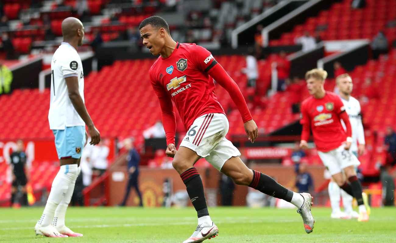 Mason Greenwood of Manchester United celebrates after scoring against West Ham