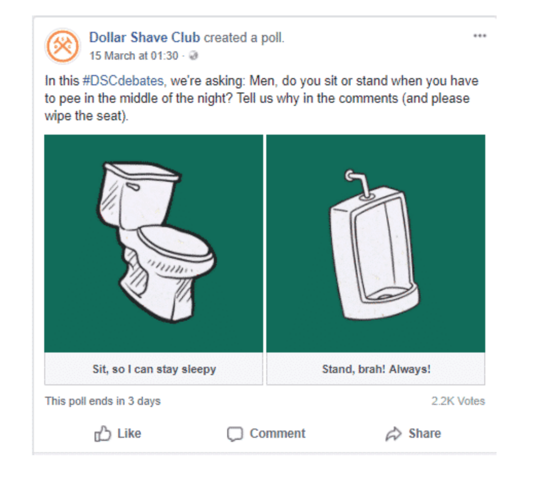 Being active on social media Dollar Shave Club example
