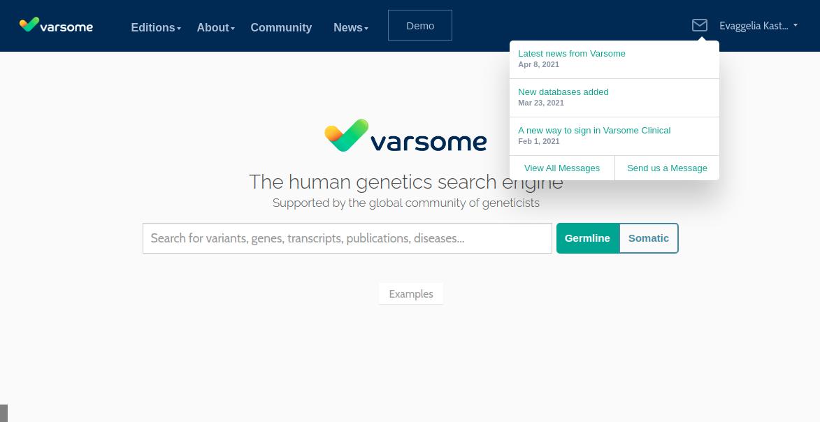 VarSome messaging inbox
