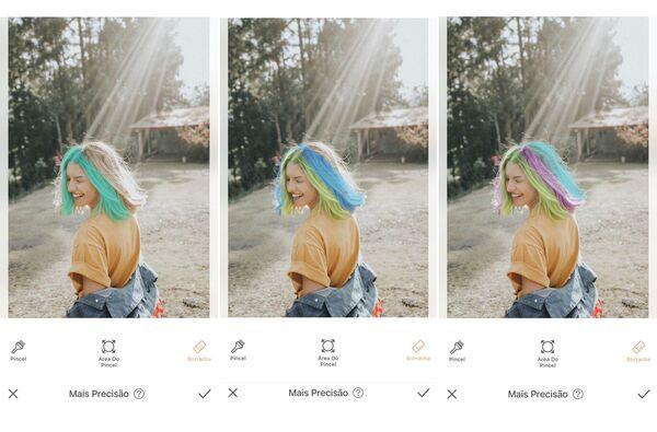 Montagem de fotos de uma mulher com cabelo liso sendo editada pelo AirBrush