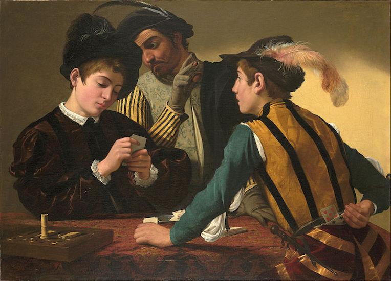 Caravaggio, The Cardsharps, c. 1594, oil on canvas (Kimbell Art Myuseum, Fort Worth)