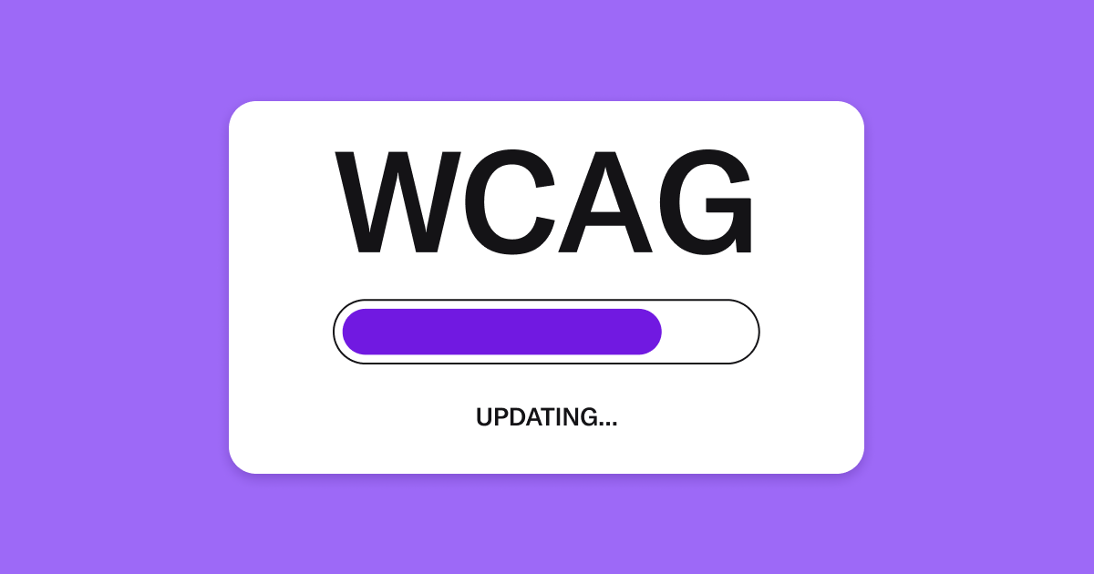 White box on purple background. Inside the box is an updating progress bar labeled