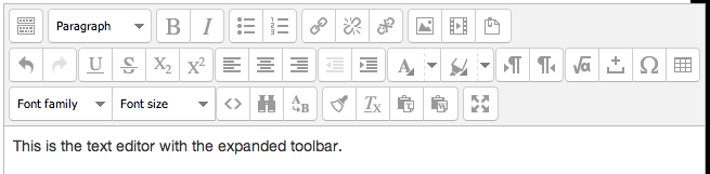 rich text editor expanded toolbar