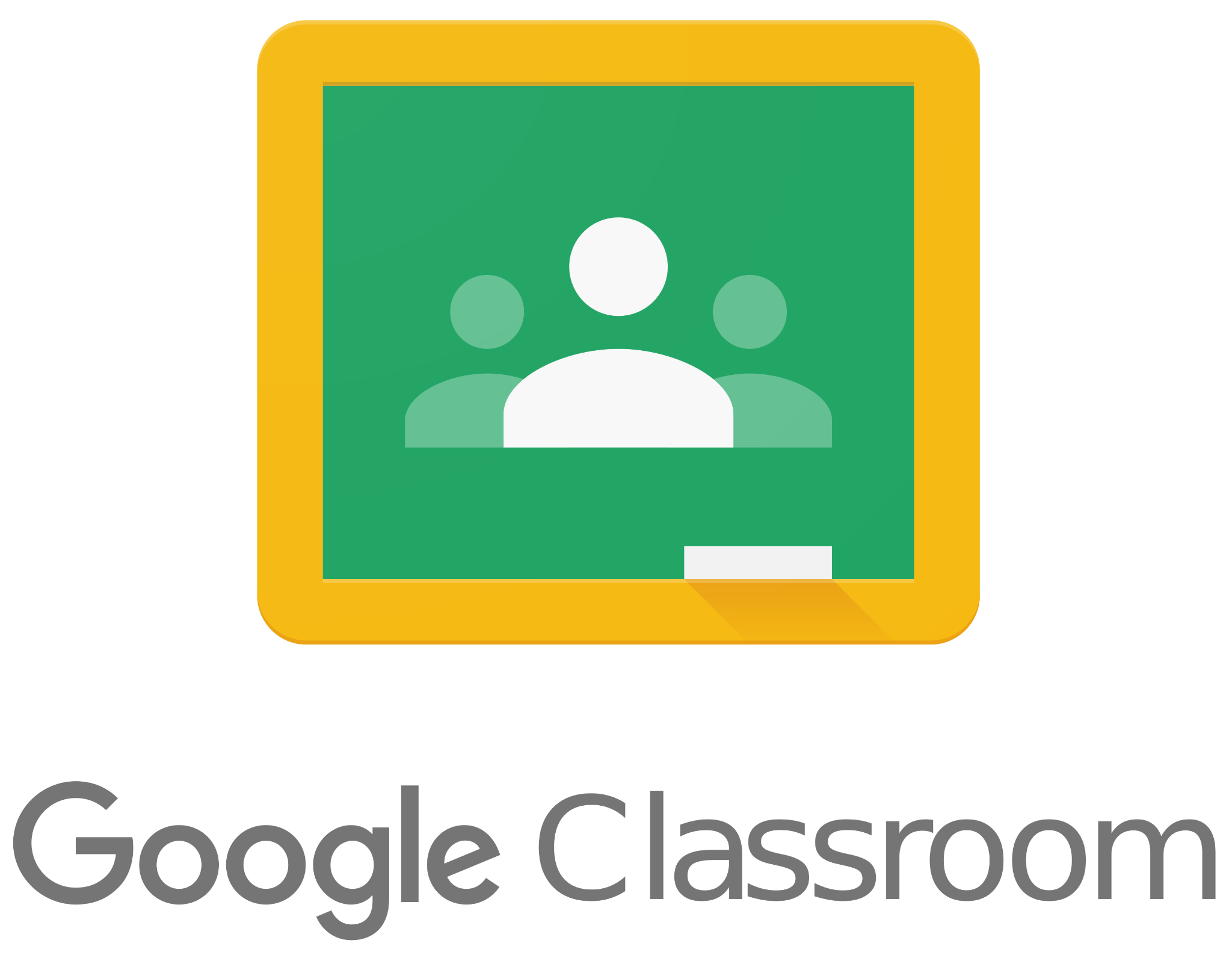 Google Classroom Logo - a green square with yellow outline and 3 silhouettes of people in the middle.