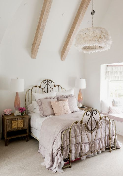 Bedroom with a Ruffled Pendant Light