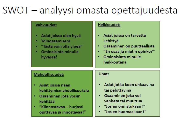 Opettajan monet roolit ja tehtävät: SWOT-analyysin ohjeet