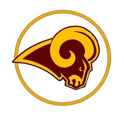 Ram head logo with gold circle