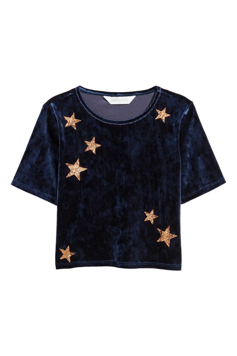 Krótki top z aksamitu - Ciemnoniebieski/Gwiazdy - Dziecko | H&M PL 1