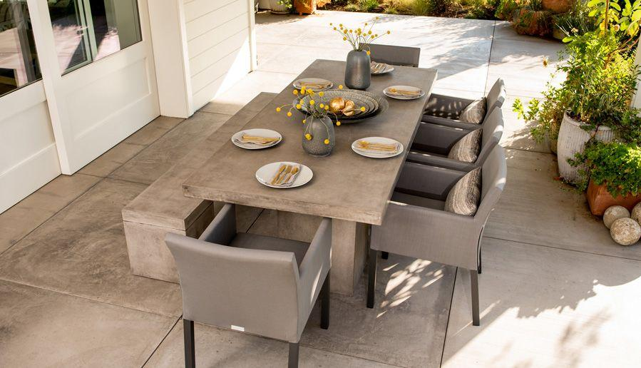 mixing concrete and other outdoor furniture styles