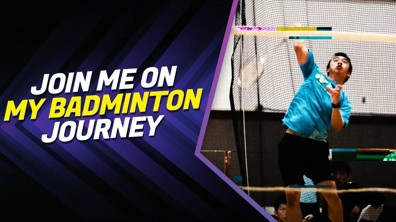 """An image of Jusin Ma, Professional Badminton Player and founder of the BadmintonJustin Blog, is shown hitting a shuttle over the net with the phrase, """"Join me on my badminton journey"""" next to it."""