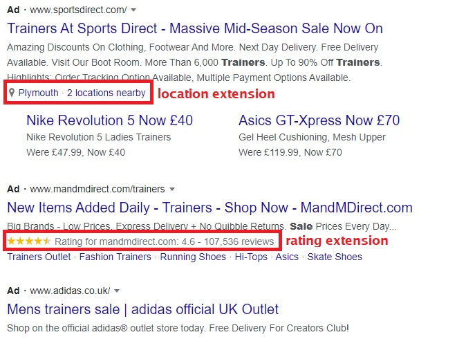 ad extensions in PPC search engine results