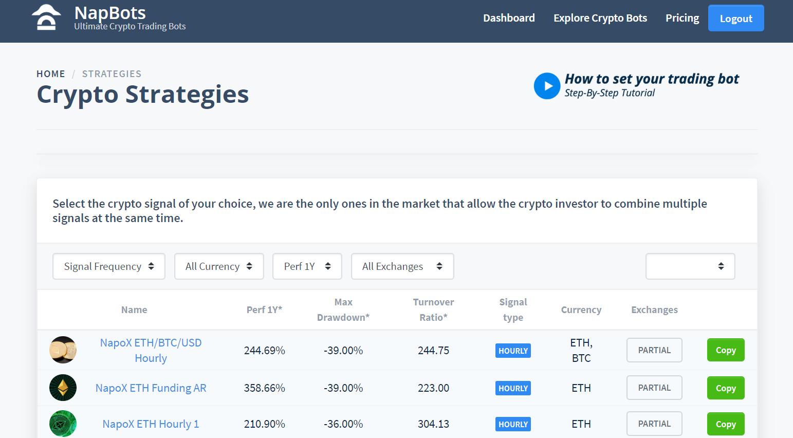 Dashboard présentant les différentes stratégies de trading pour programmer votre bot de trading
