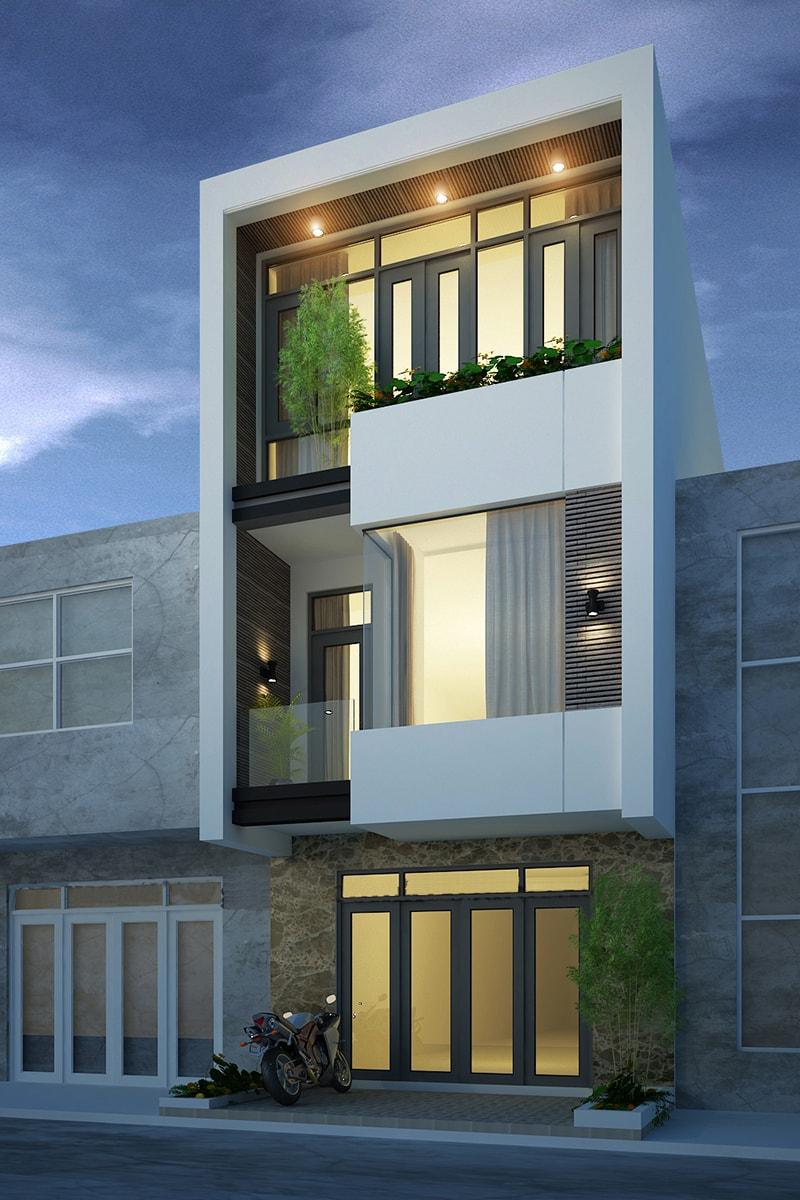 Nhà phố 3 tầng hiện đại với chất liệu kính và sự thân thiện của cây xanh
