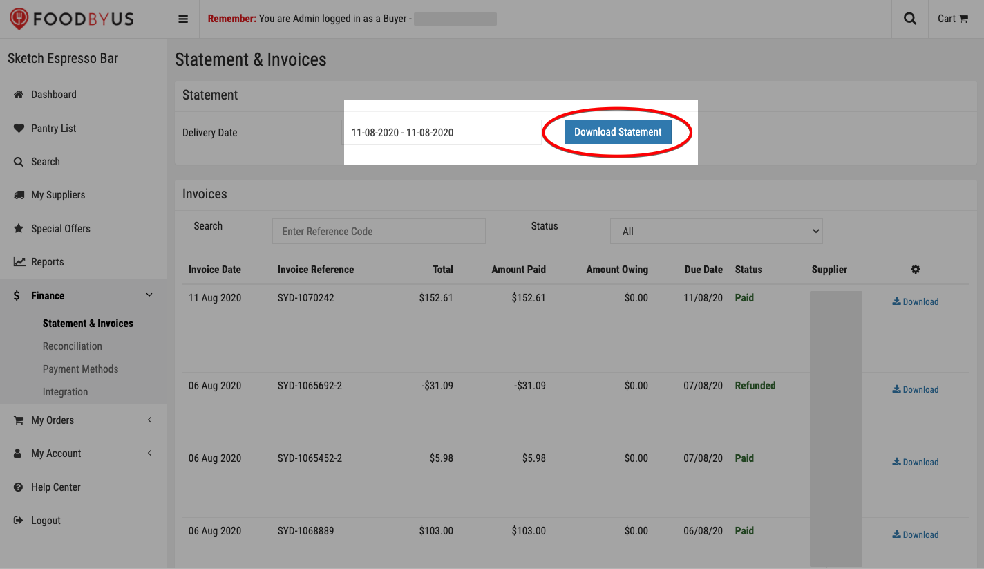 FoodByUs_dashboard_statement_and_invoices_download_single_invoice