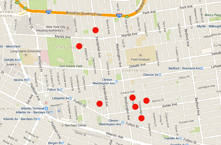 brooklyn house hunt map, clinton hill map, fort green map
