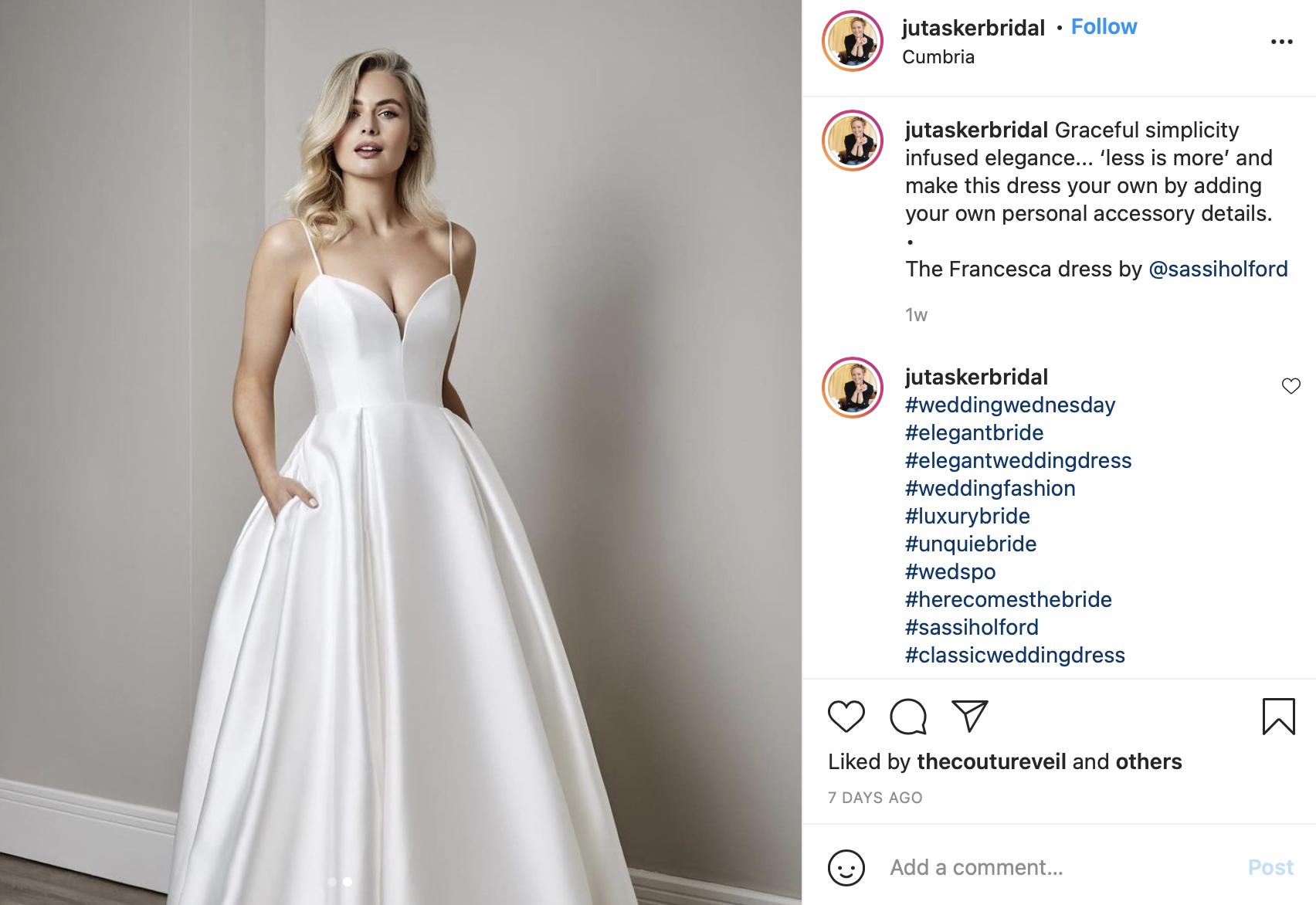 modern satin wedding dress