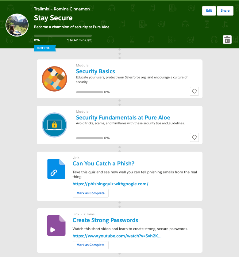 Stay Secure Trailmix, showing modules and links to an external activity and video