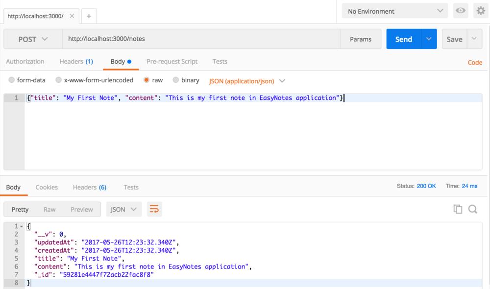 Node Express Rest API Create a Note