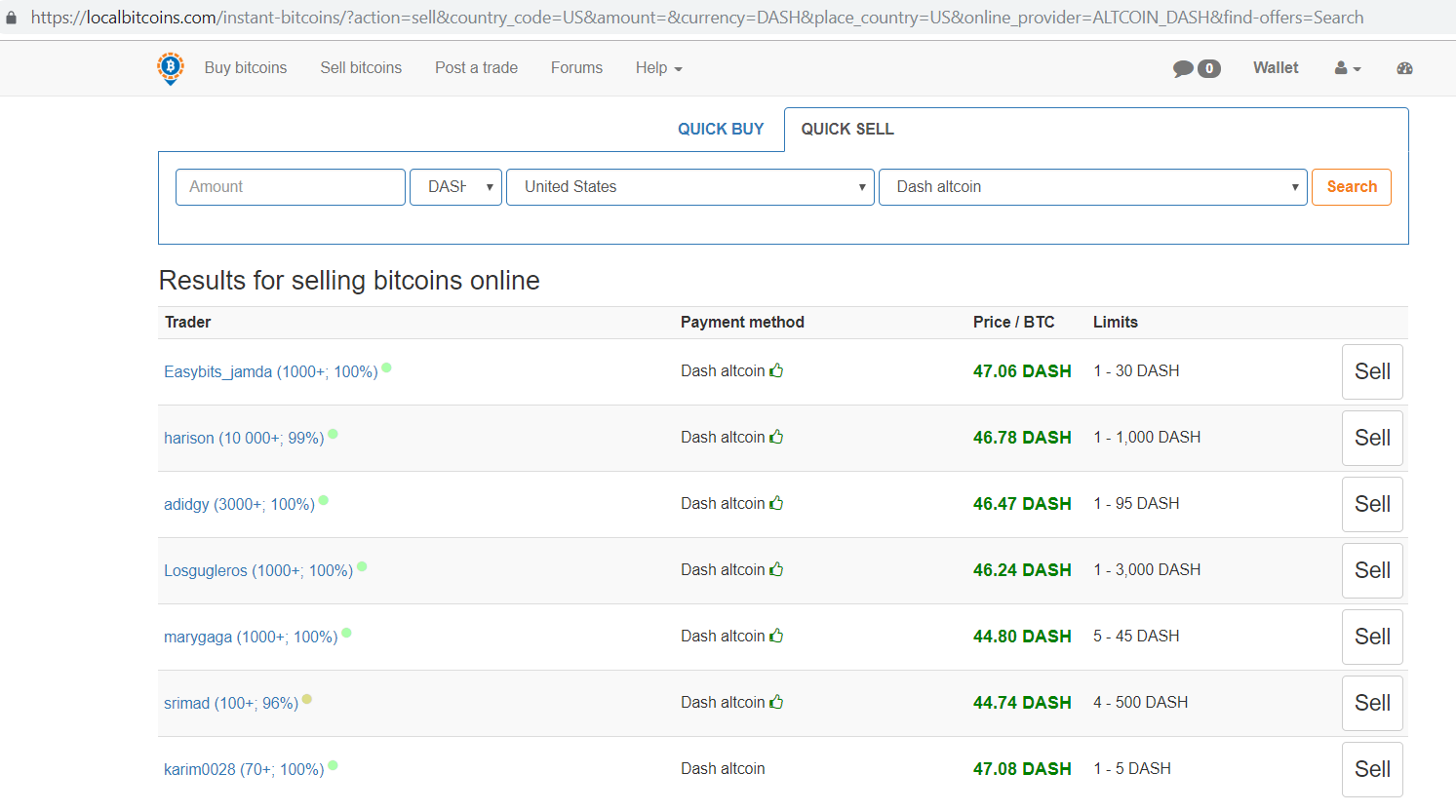 Localbitcoins.com Results for selling bitcoins online screen.