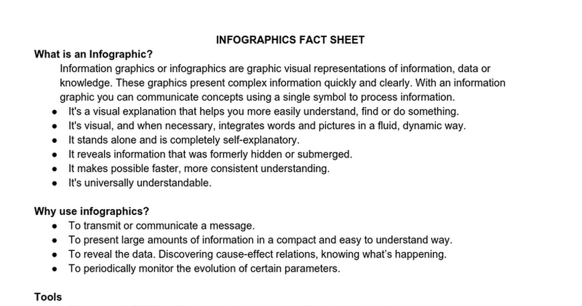 Infographics Fact Sheet - Google Docs