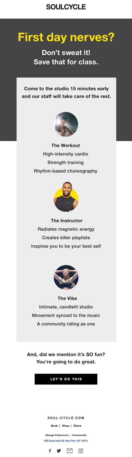 soucycle first day nerves email