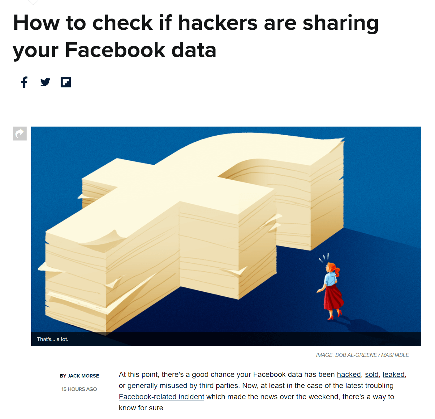 """An article from Mashable, titled """"How to check if hackers are sharing your Facebook data""""."""