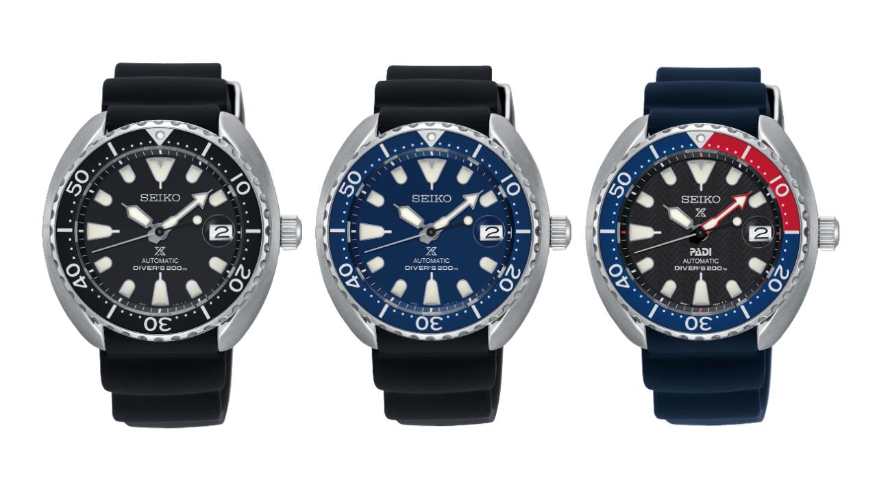 Three Seiko dive watches from the Mini Turtle range