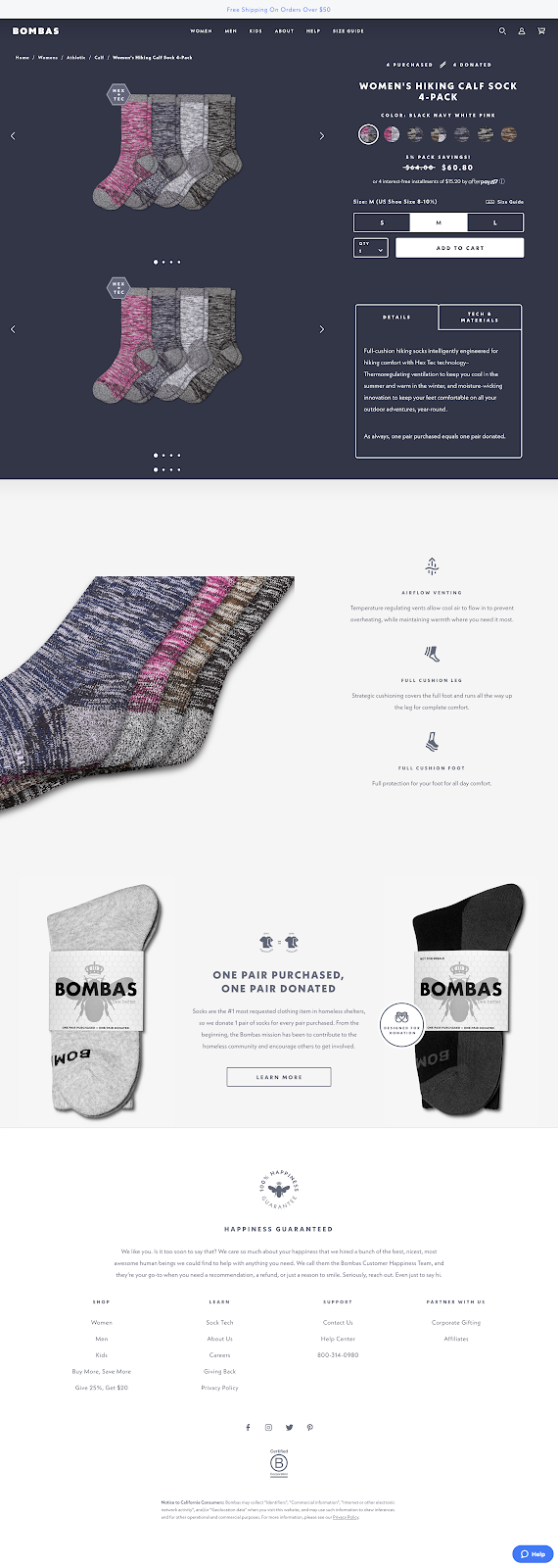 marketing funnels explained bombas product page