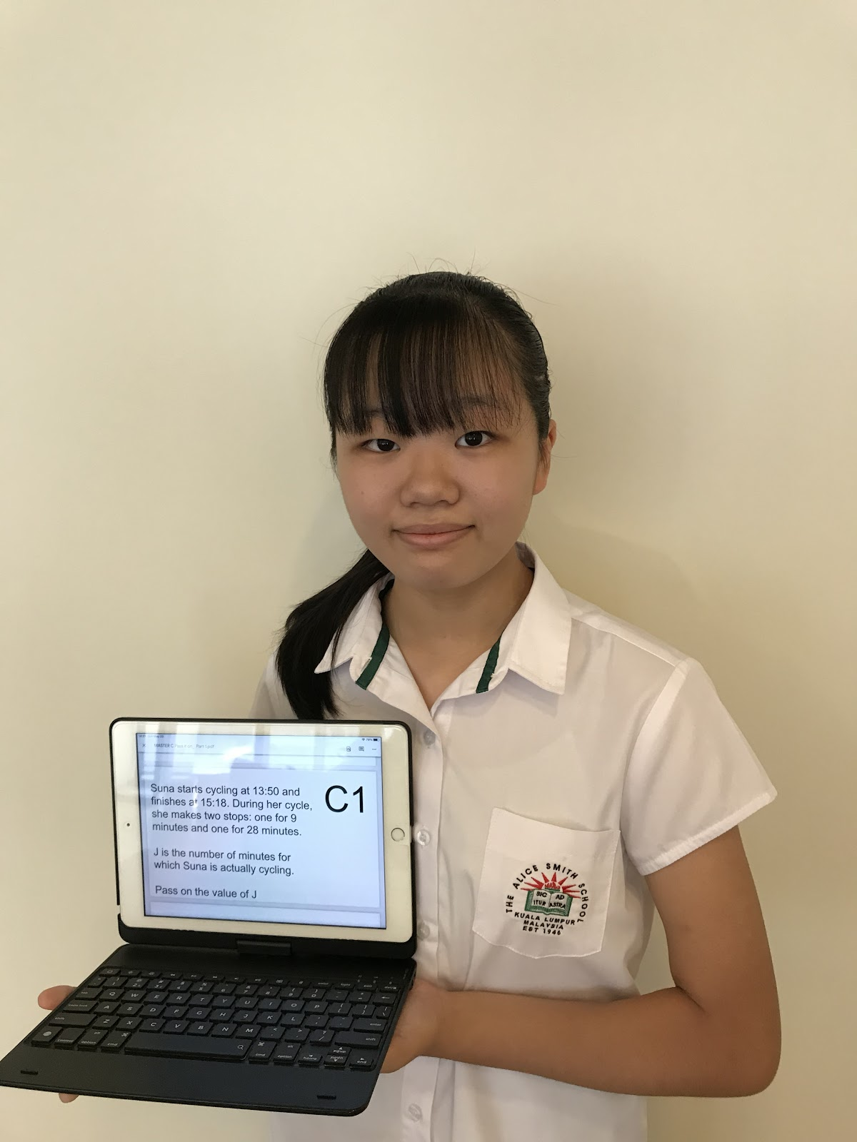 Saki with her computer