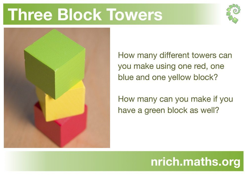 Image of Three Block Towers problem from nrich website