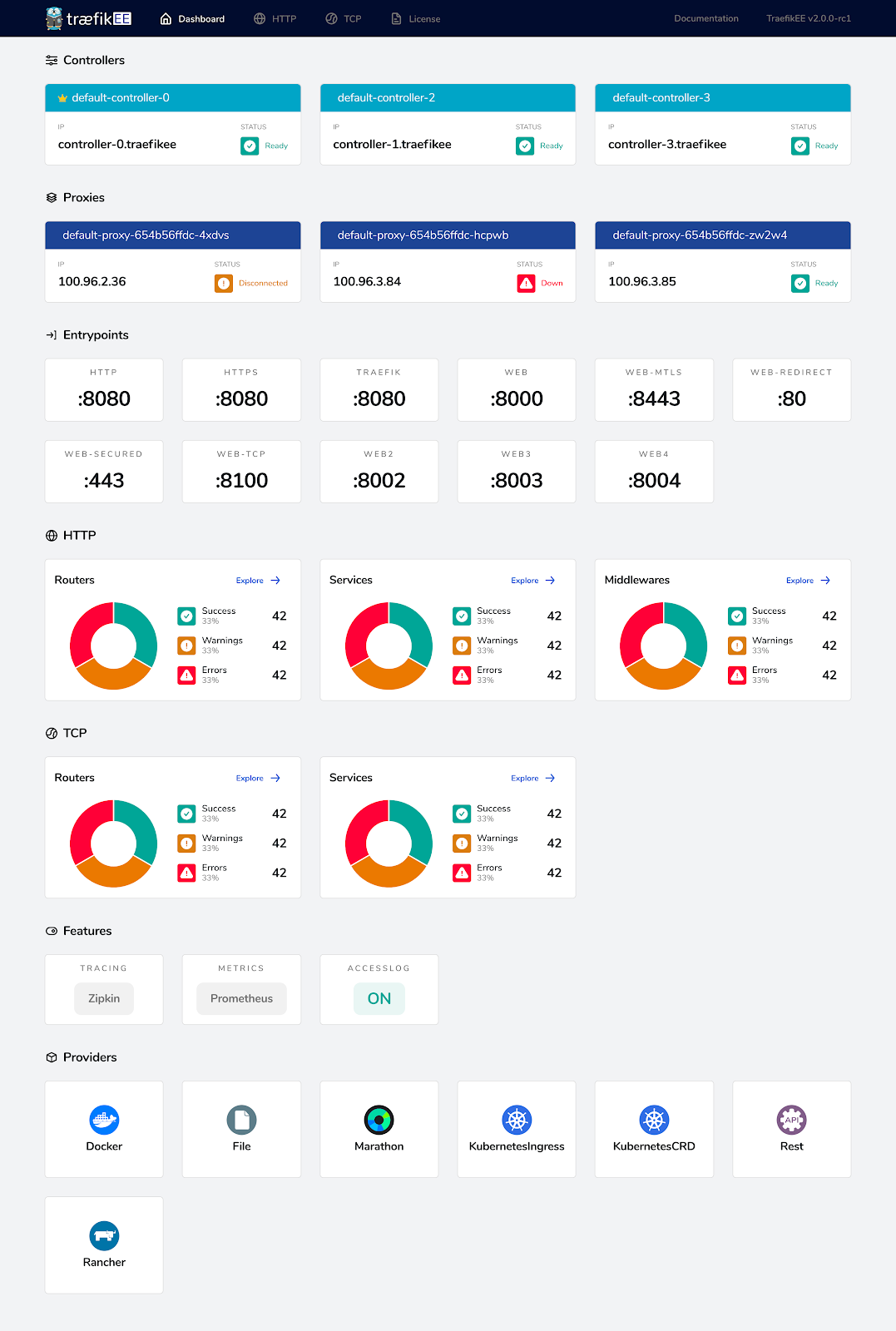 TraefikEE Dashboard Overview Page