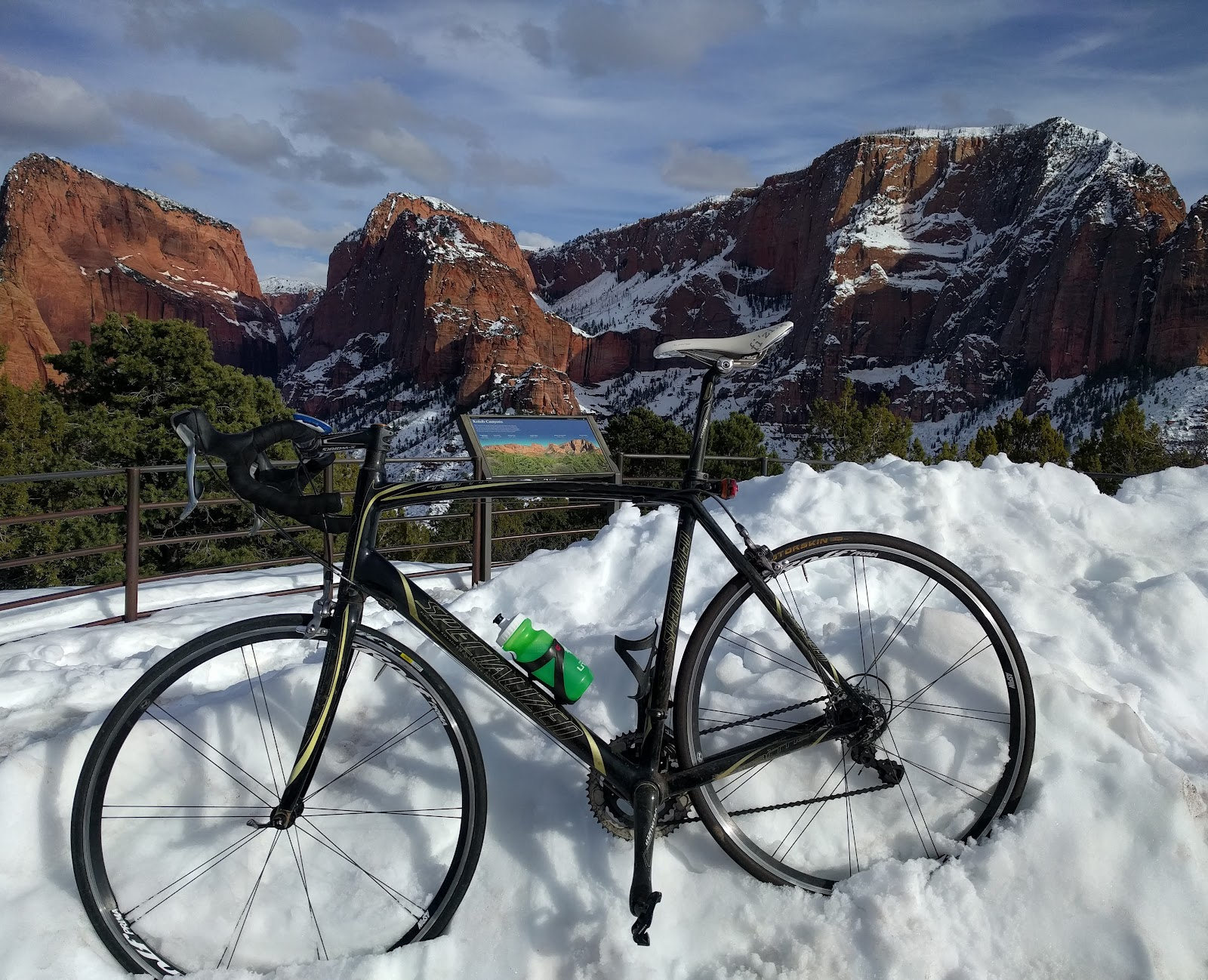 Cycling Kolob Terrace - bike on snowbank