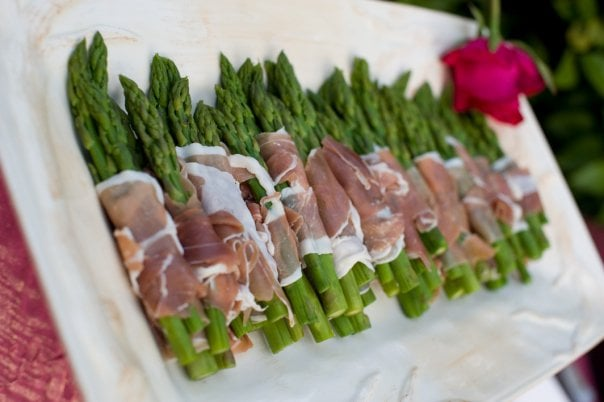 Prosciutto wrapped asparagus is one of many cold appetizers from Melrose Catering