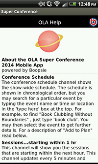 OLA 2014 Super Conference, Help Channel