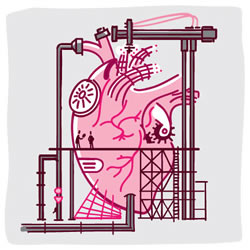 Whimsical illustration of a heart being repaired by construction workers.