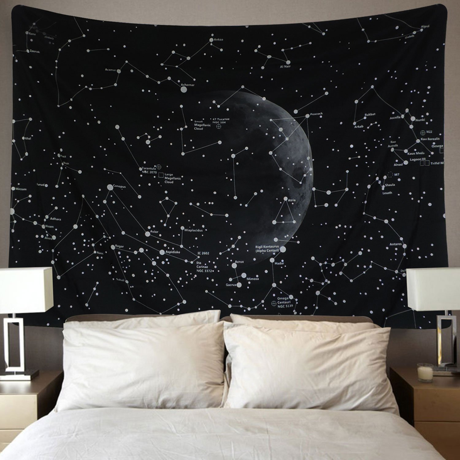 Black and white star constellations wall tapestry